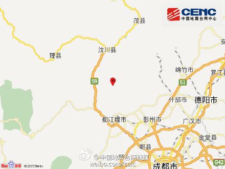 四川省成都市都江堰市附近(北纬31.2度,东经103.7度)发生3.5级左右地震
