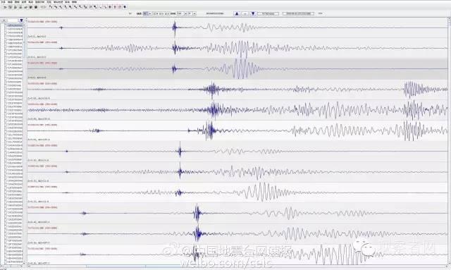 中国地震台网官方微博发布了波形记录