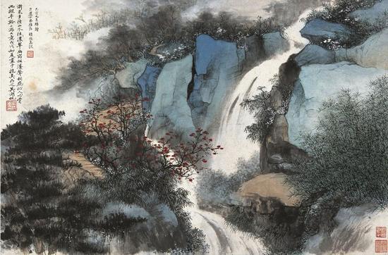 2012西泠春拍Lot16  吴湖帆 浙东小景   设色纸本 镜片   1958年作