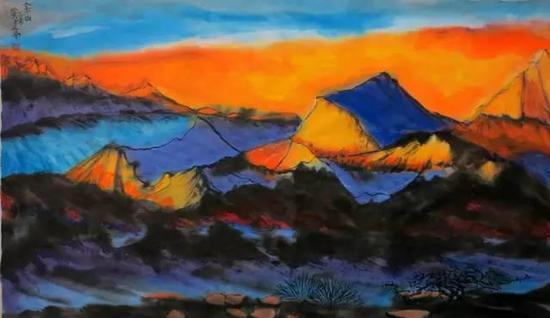 国画《金山》79×47cm