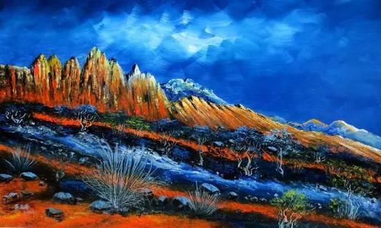 油画《映丹霞》100×68cm