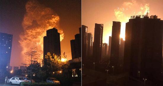 天津滨海新区深夜突发爆炸