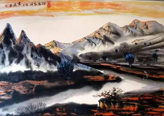 国画《阳光的家园》69×53cm