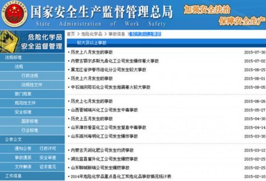 国家安监总局页面截图,最后一项即为统计表