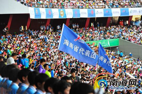 全国民运会闭幕式上,海南代表团挥舞着旗帜。(南海网特派记者苏桂除摄)