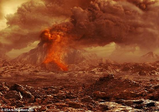 专家说,一年中,黄石国家公园发生火山喷发的几率是七十万分之一。照片展示了一位艺术家的构想图。