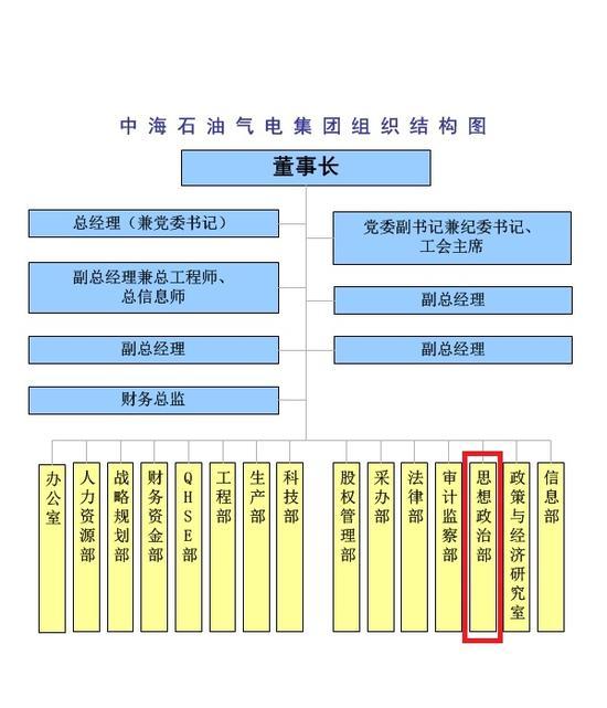 组织结构图。图片来源:中海石油气电集团有限责任公司