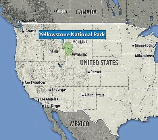 照片显示,黄石国家公园横跨美国中西部的怀俄明州、爱达荷州和蒙大拿州。
