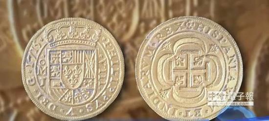 """罕見的西班牙""""皇家金幣""""每一枚都是獨一無二的,價值均在30萬美元以上(圖片來源:台灣中時電子報)"""