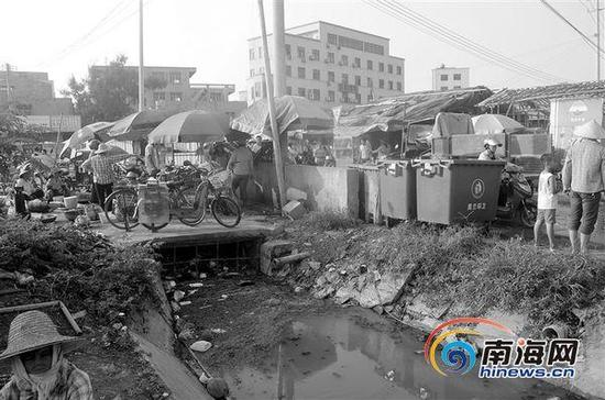 """露天""""菜市场""""紧挨着村道,开设在发臭的灌溉水渠旁。"""