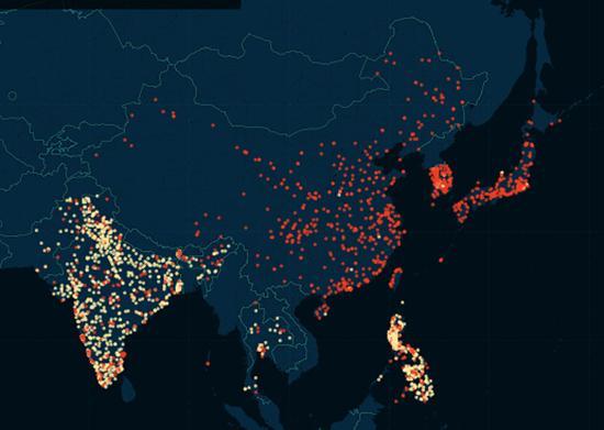 亚洲部分地区出轨城市地图。(网页截图)