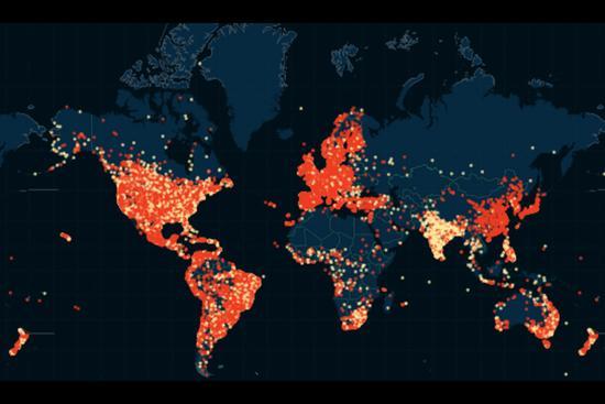 婚外情网站泄密资料被绘成出轨地图 会员遍布5万城市。红点代表男女用户比例大于85%,黄点代表男女用户比例少于85%。(网页截图)