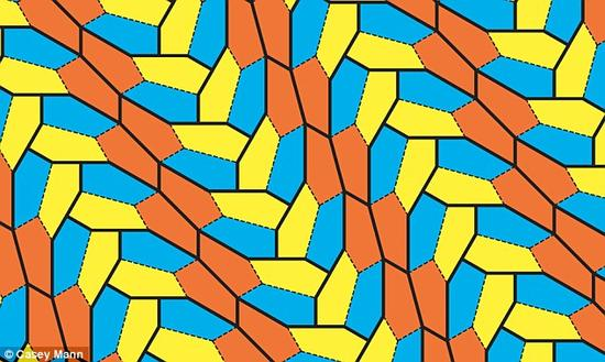 """三位科学家创下一个数学史上的里程碑:发现一种不规则五边形,可以在相互不重叠的情况下实现完美无缝拼接。研究人员在""""砌平面""""时发现这一新型不规则五边形,这是科学家迄今为止发现的第15种可以实现完美对接的不规则五边形,距离上一发现已有30年。"""