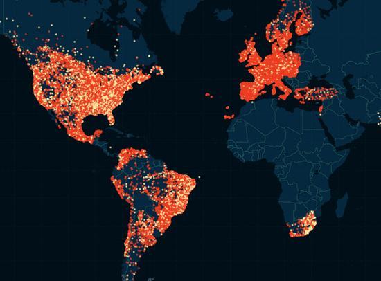 欧洲美洲出轨城市分布