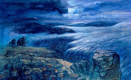长毛猛犸象置身于更新世冰川的景象。