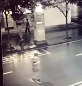 视频中过马路女子低头玩手机