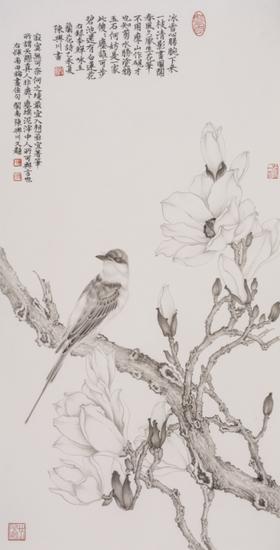 古木清影图36x69cm 2015