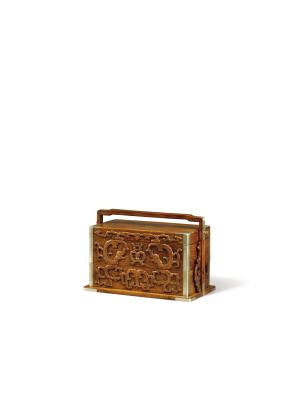 晚明至清前期黃花梨鑲嵌黃楊木龍紋提盒