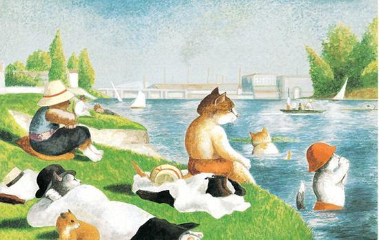 猫咪版的《阿涅尔的浴者》。(网页截图)