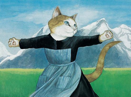电影《音乐之声》中的英国女星朱莉・安德鲁斯,也被赫伯特变成了猫咪版。(网页截图)