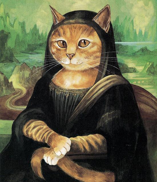 艺术家赫伯特出版新作品,以猫为主角再现世界经典名画,比如《蒙娜丽莎》。(网页截图)