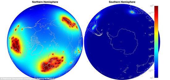 对来自核反应堆的反中微子的探测,有助于科学家进一步了解核反应过程,以及未来可能的防核应用。图中显示了南、北半球核反应堆的反中微子活动热点,重点区域为欧洲、美国和中国。