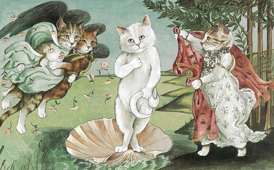 猫成为赫伯特艺术创作中的鲜明主题,这些引人注目的形象继续保持独特的风格。(网页截图)