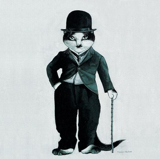 """赫伯特的""""电影猫""""作品,《流浪汉》中的查里・卓别林。(网页截图)"""