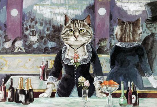 爱德华・马奈的《女神酒吧间》,也被画成了猫咪版。(网页截图)