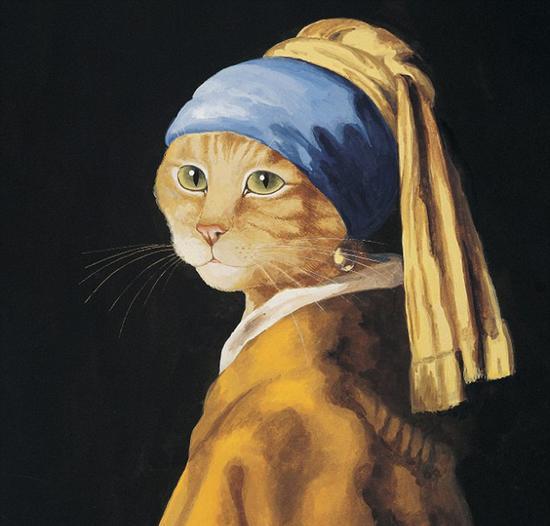 赫伯特翻改荷兰绘画大师杨・维梅尔的代表作《戴珍珠耳环的少女》。(网页截图)