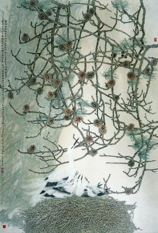 苏百钧   鸟巢系列・松鹤图   220cm×150cm    绢本    2009年