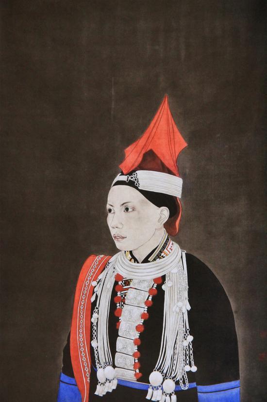 赵芳《瑶歌》绢本  (80cmX55cm)赵芳2014年