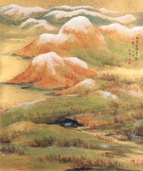金笺山水-群林残雪(图1)