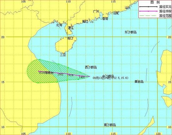 南海热带低压路径预报图