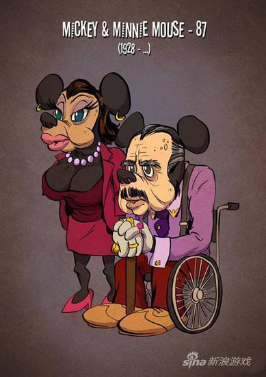 迪士尼经典动画形象的老年形态