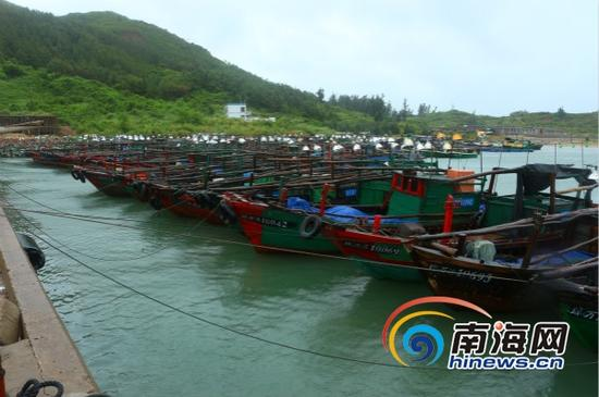 万宁渔船回港避风(万宁市供图)