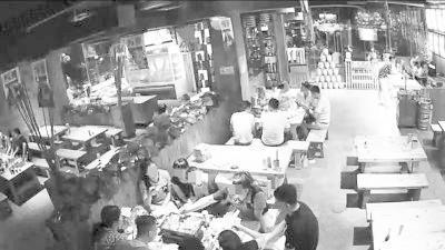 幸福151烧烤海南海口分店的监控画面