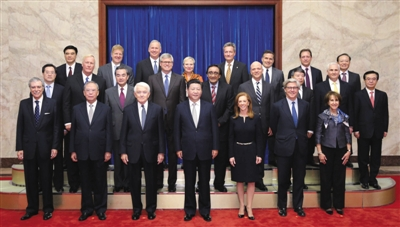 近日,国家主席习近平在北京人民大会堂会见出席第七轮中美工商领袖和前高官对话的美方代表。新华社记者 黄敬文 摄