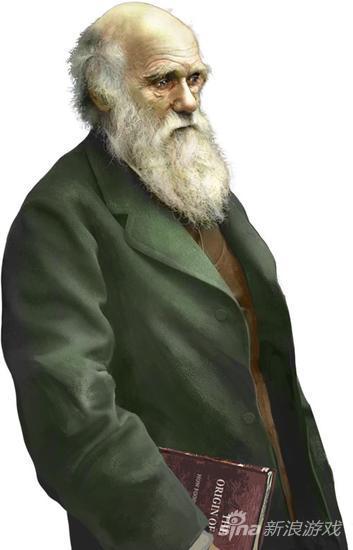 """手持""""物种起源""""的达尔文"""