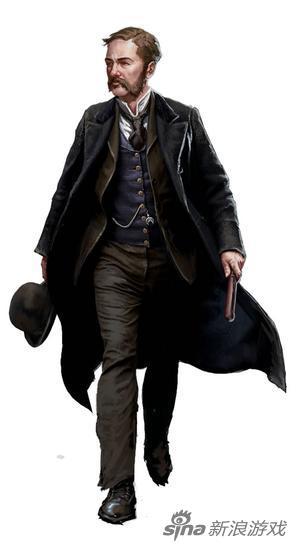 """在DLC""""开膛手杰克""""中追加的警察""""Inspector Fred Abberline """",出自电影《来自地狱》由约翰尼·德普饰演"""