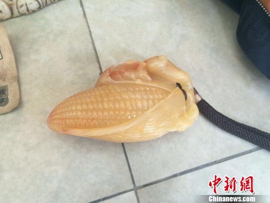 图为嫌犯曾拿去鉴定,价值80万元人民币的玉米。 史广林 摄