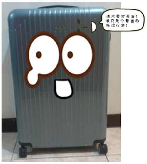 图为发出声音的行李箱