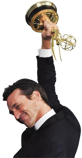 """43岁的乔·哈姆领奖方式与众不同,他是爬上颁奖舞台的,并连连感叹获奖""""令人难以置信""""。"""