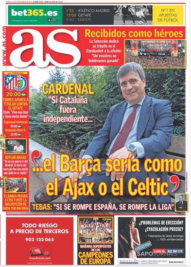 《阿斯报》头条重视西班牙体育委员会主席的舆论