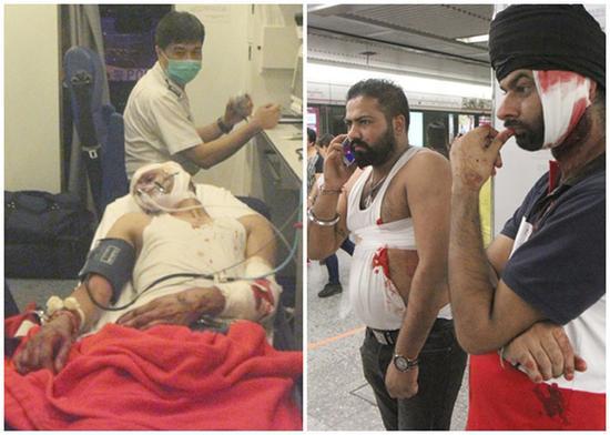 香港地铁9男子追砍3人 血肉横飞