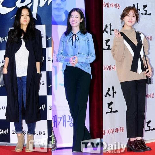 从左至右,韩佳人、韩孝珠、韩志旼