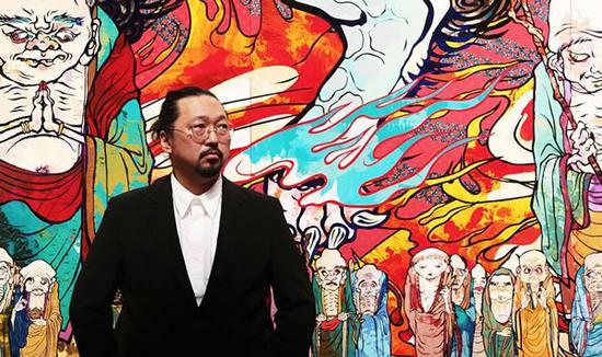 艺术家村上隆及《500罗汉》(局部)
