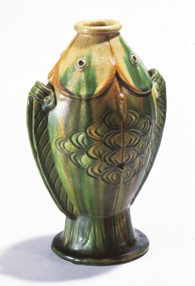 三彩陶雙魚瓶