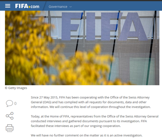 FIFA在官方网站上发表声明称会全力配合调查