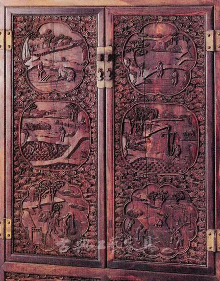 圖4 紫檀雍正耕織圖四件櫃(故宮博物院藏)局部